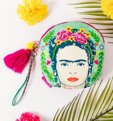 Frida Kahlo Embroidered Round Make Up Bag from House of Disaster