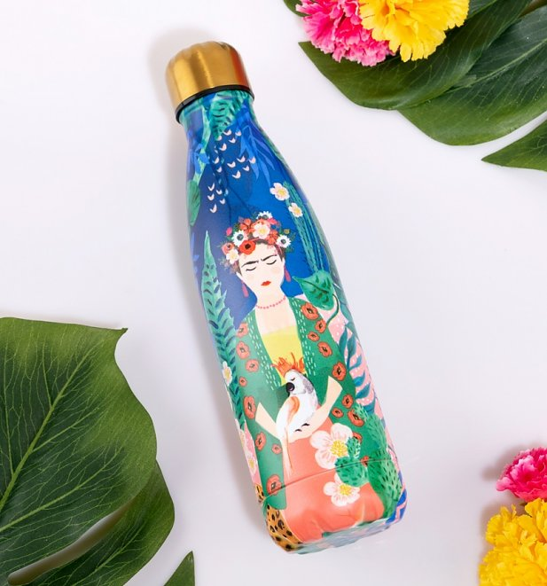 Frida Kahlo Tropical Metal Water Bottle from House Of Disaster