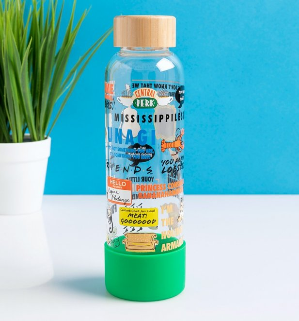 Friends Quotes and Icons Glass Water Bottle with Wooden Lid