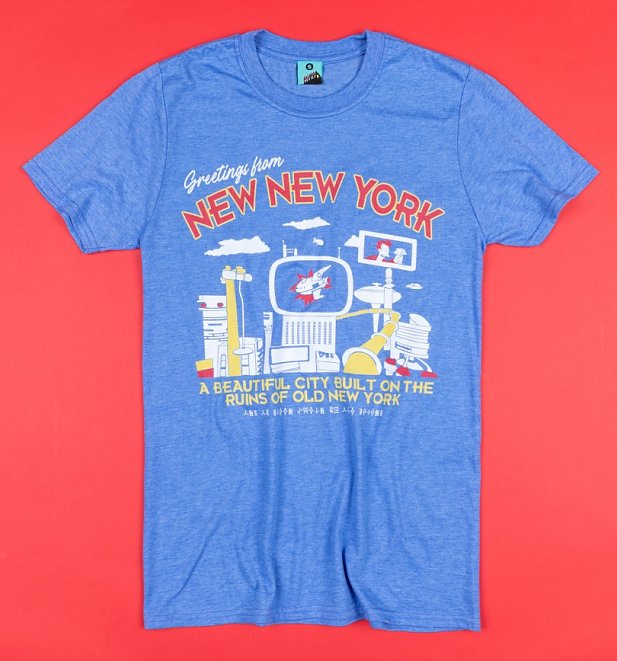 Futurama Inspired Greetings From New New York Blue T-Shirt