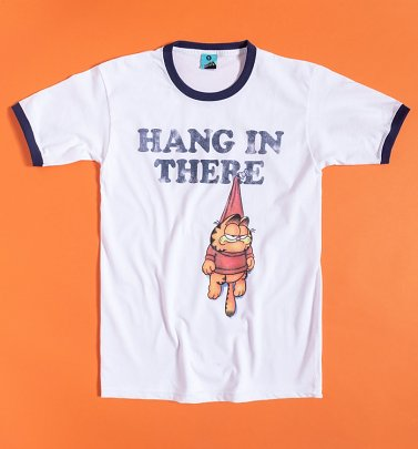 Garfield Hang In There White And Navy Ringer T-Shirt