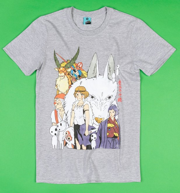 Ghibli Inspired Princess Mononoke Grey Marl T-Shirt