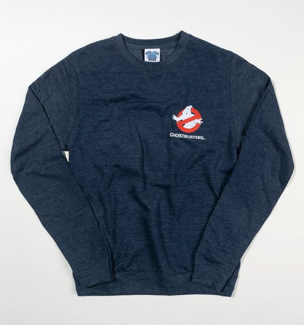 Ghostbusters Who Ya Gonna Call Back Print Heather Navy Sweater