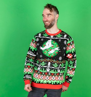 Ghostbusters Wreath Knitted Christmas Jumper