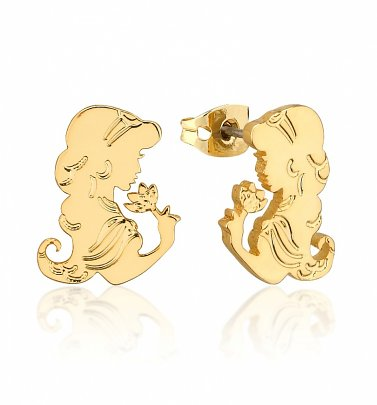 Gold Plated Aladdin Princess Jasmine Stud Earrings from Disney by Couture Kingdom