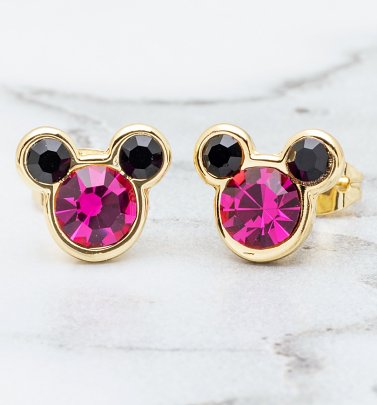 Gold Plated And Pink Mickey Mouse Head Stud Earrings