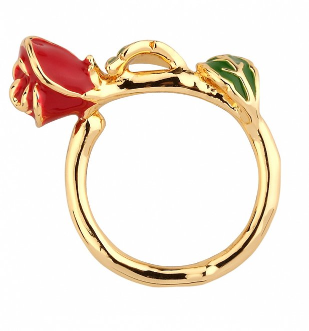 Gold Plated Beauty & The Beast Enchanted Rose Ring from Disney Couture