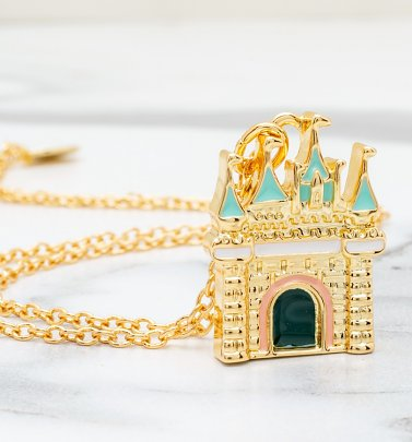 Gold Plated Disney Princess Castle Charm Necklace