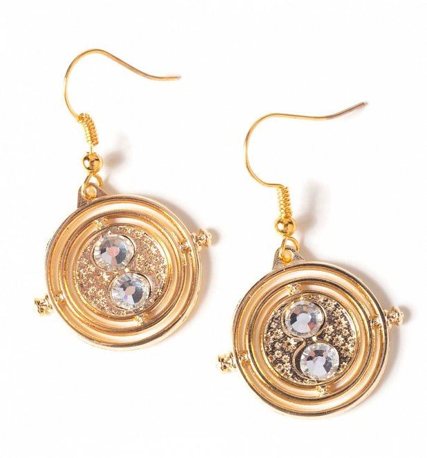 Gold Plated Harry Potter Fixed Time Turner Drop Earrings