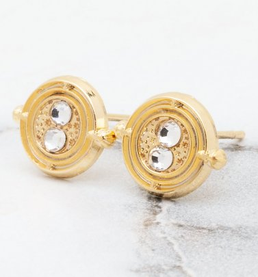 Gold Plated Harry Potter Time Turner Stud Earrings
