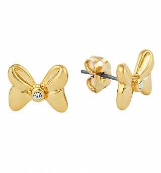 Gold Plated Minnie Mouse Bow Stud Earrings With Crystals from Disney Couture