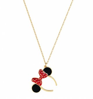 Gold Plated Minnie Mouse Red Enamel Headband Necklace from Disney Couture
