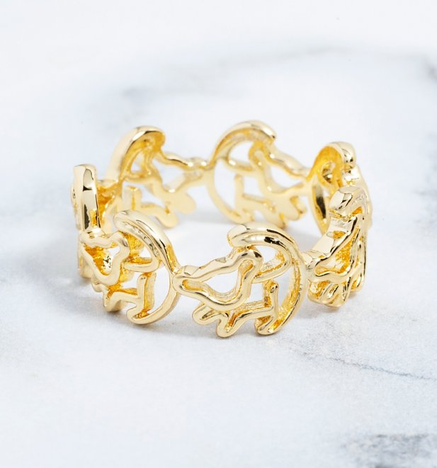 Gold Plated Simba Outline Lion King Ring