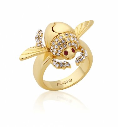 Gold Plated Swarovski Crystal Aladdin Scarab Ring