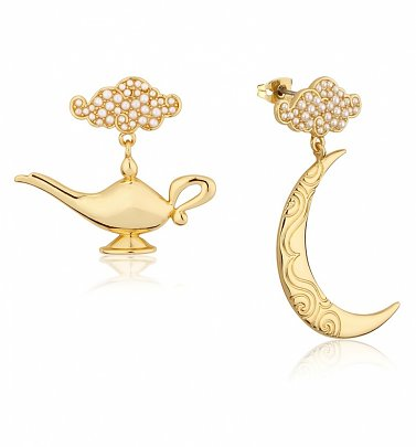 Gold Plated Swarovski Pearl Aladdin Genie Lamp Drop Earrings from Disney by Couture Kingdom