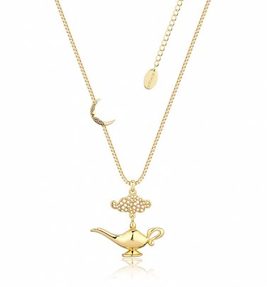 Gold Plated Swarovski Pearl Aladdin Genie Lamp Necklace from Disney by Couture Kingdom