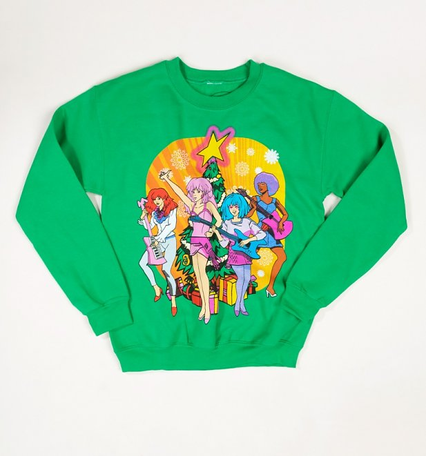 Green Jem And The Holograms Christmas Tree Christmas Jumper
