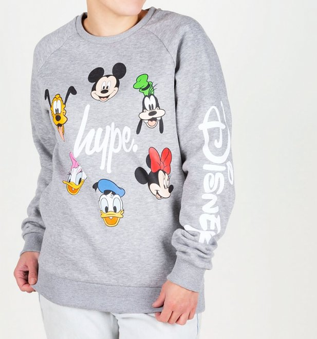 Grey Disney Characters Crewneck Sweater from Hype