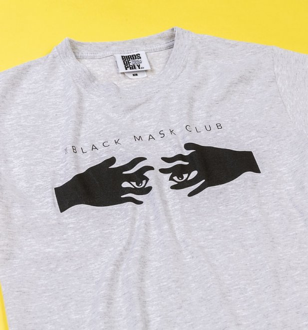 Grey Marl Black Mask Club Birds Of Prey T-Shirt