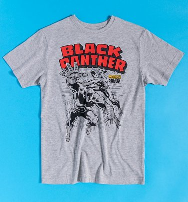 Grey Marl Marvel Comics Black Panther T-Shirt