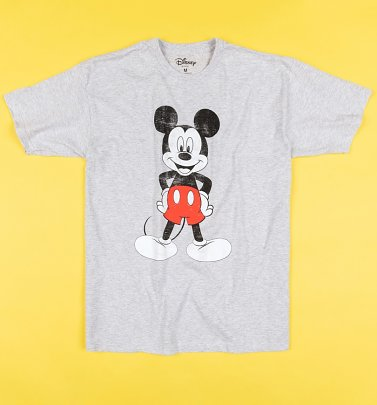 Grey Marl Mickey Mouse Vintage Distressed T-Shirt