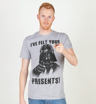 Grey Marl Star Wars Felt Your Presents Darth Vader Christmas T-Shirt