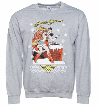 Grey Marl Wonder Woman Christmas Sweater