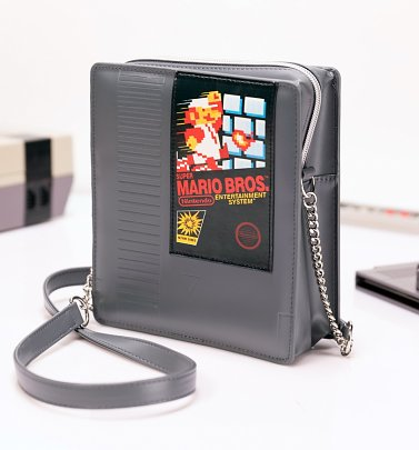 Grey Nintendo Super Mario Brothers Cartridge Cross Body Bag from Difuzed