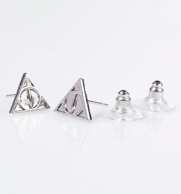 Harry Potter Deathly Hallows Necklace and Stud Earrings Gift Set