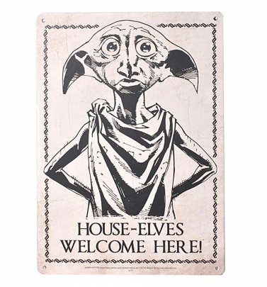 Harry Potter Dobby House Elves Welcome Here Small Tin Sign