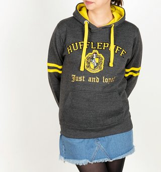 Harry Potter Hufflepuff Applique Charcoal Hoodie