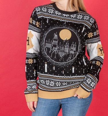 Harry Potter Light Up Hogwarts Castle Knitted Christmas Jumper