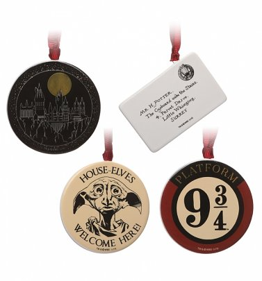 Harry Potter Set Of Four Christmas Decorations