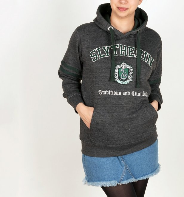 Harry Potter Slytherin Applique Charcoal Hoodie