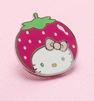 Hello Kitty Strawberry Head Enamel Pin from Punky Pins