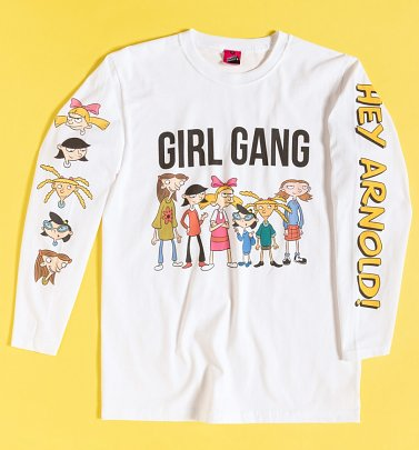 Hey Arnold Girl Gang White Long Sleeve T-Shirt