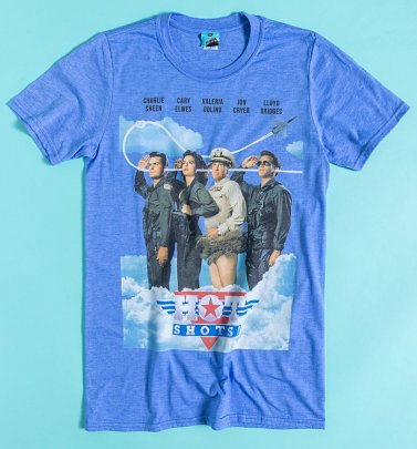 Hot Shots! Movie Poster Blue Marl T-Shirt
