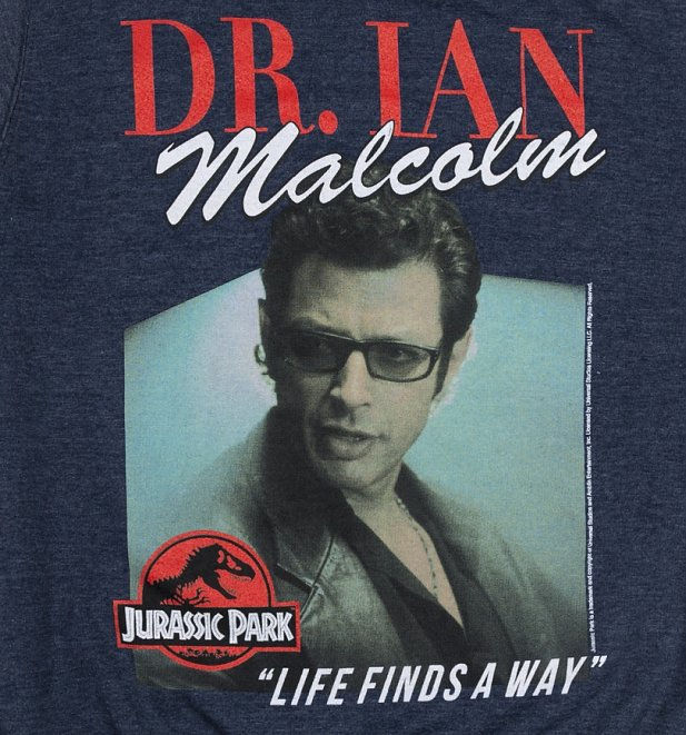 Jurassic Park Dr Ian Malcolm Heather Navy Sweater