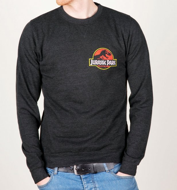 Jurassic Park Ranger Back Print Black Heather Sweater