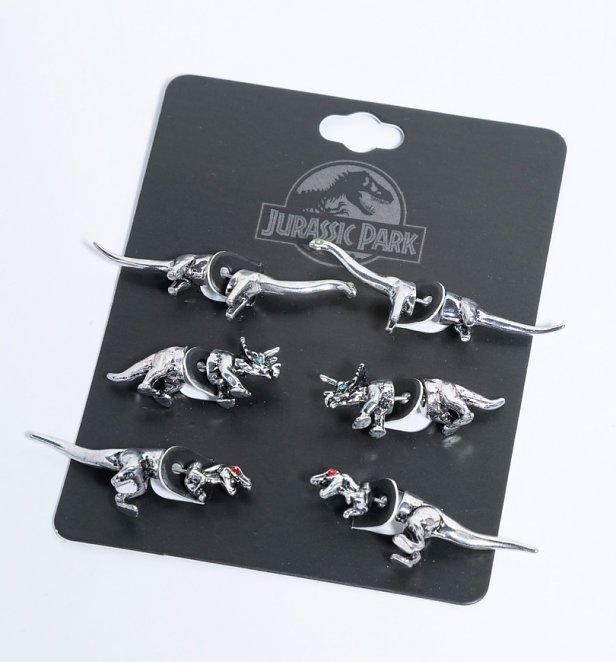 Jurassic Park Set Of 3 Dinosaur Stud Earrings