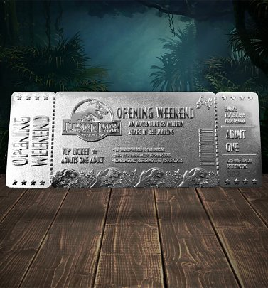 Jurassic Park Silver Plated Limited Edition Ticket