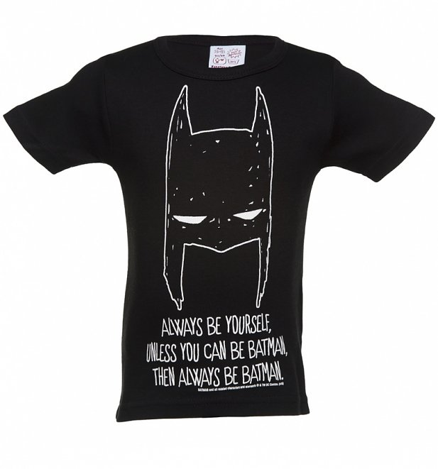 Kids Black Batman Always Be Yourself T-Shirt