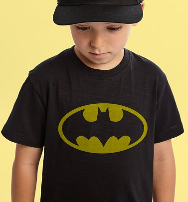 Kids Black Batman Logo T-Shirt from Fabric Flavours