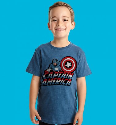 Kids Blue Captain America T-Shirt from Fabric Flavours