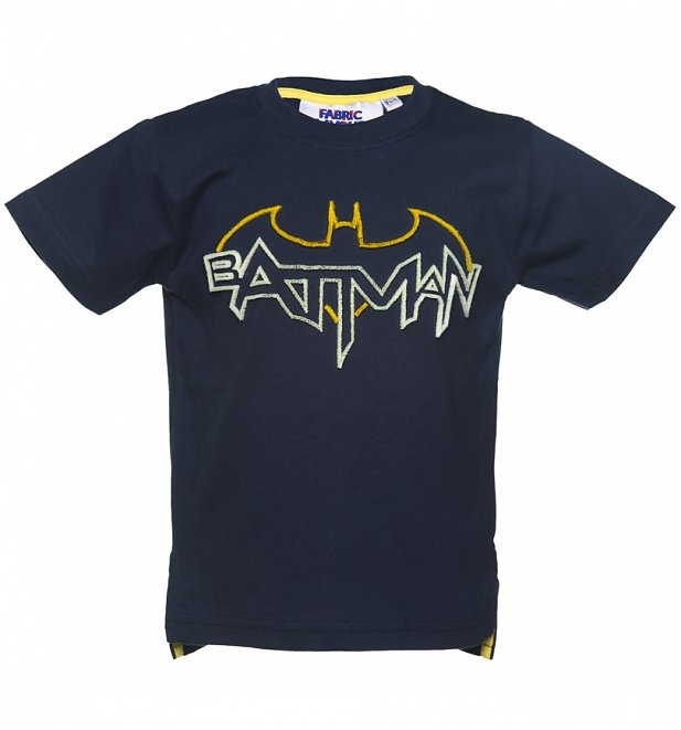 Kids Blue DC Comics Batman Tuft Glow In The Dark T-Shirt from Fabric Flavours