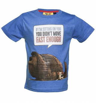 Kids Blue Marl The Secret Life Of Pets Max and Duke Speech Bubble T-Shirt