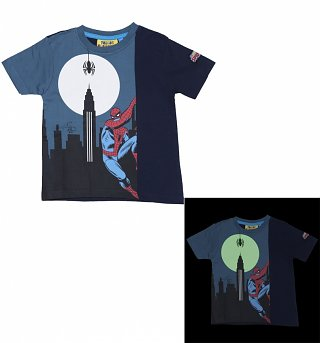 Kids Blue Marvel Spider-Man Glow In The Dark T-Shirt from Fabric Flavours
