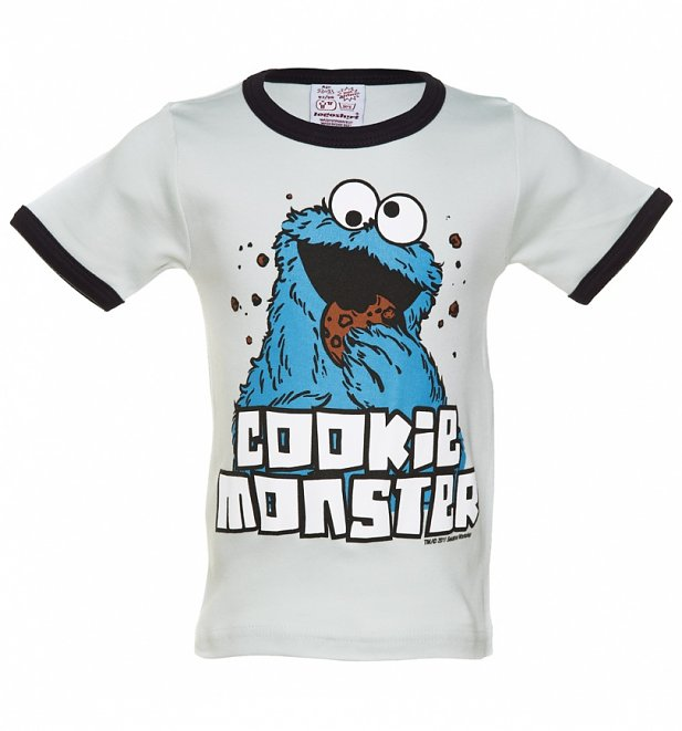 Kids Blue Sesame Street Cookie Monster Ringer T-Shirt