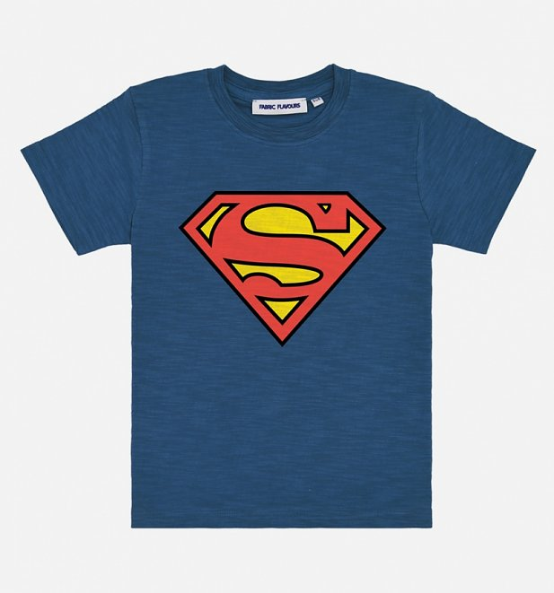 Kids Blue Superman Logo T-Shirt from Fabric Flavours