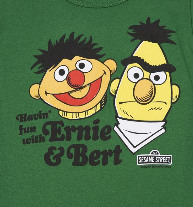 Kids Green Sesame Street Bert And Ernie Havin Fun T-Shirt
